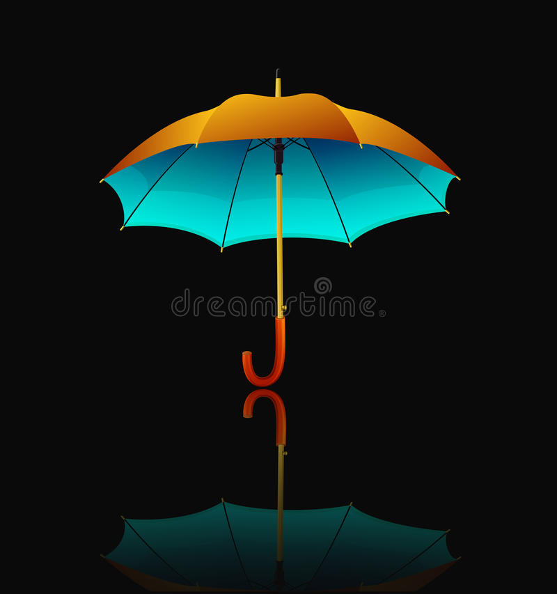 Download Umbrella With Reflection On Black Background Stock Vector - Image: 31558052