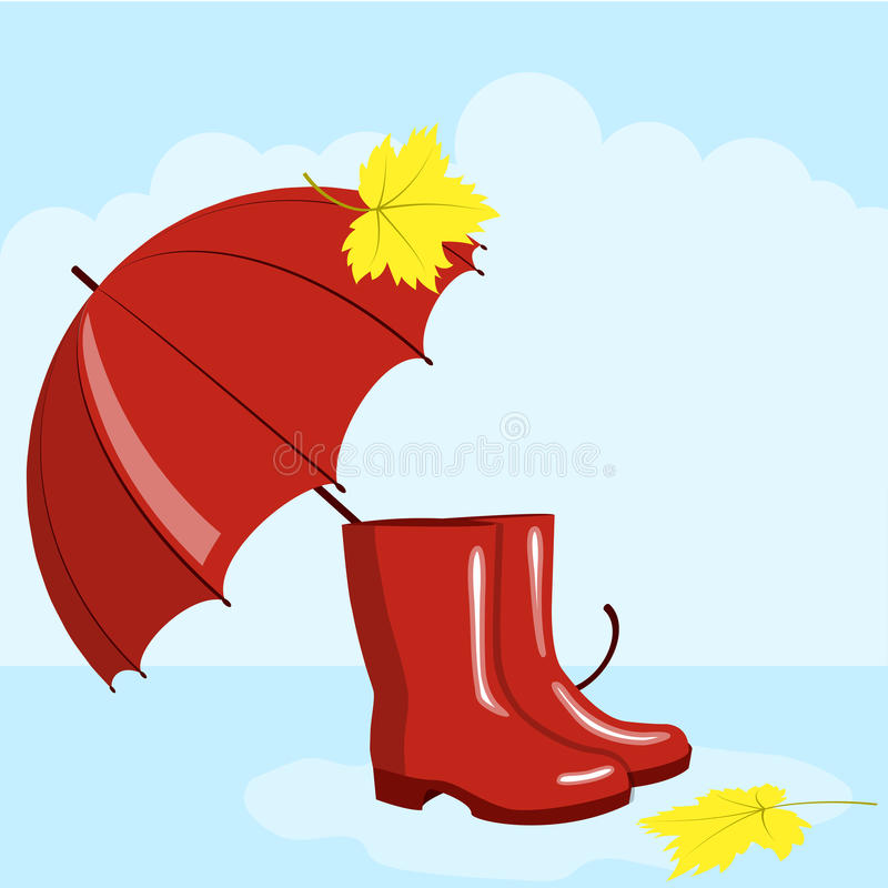 Umbrella and rubber boots royalty free illustration