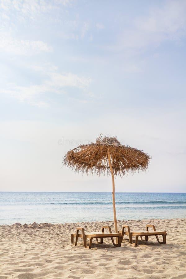 Umbrella on a sand beach stock photo