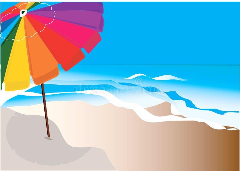 Umbrella on sea beach. stock illustration