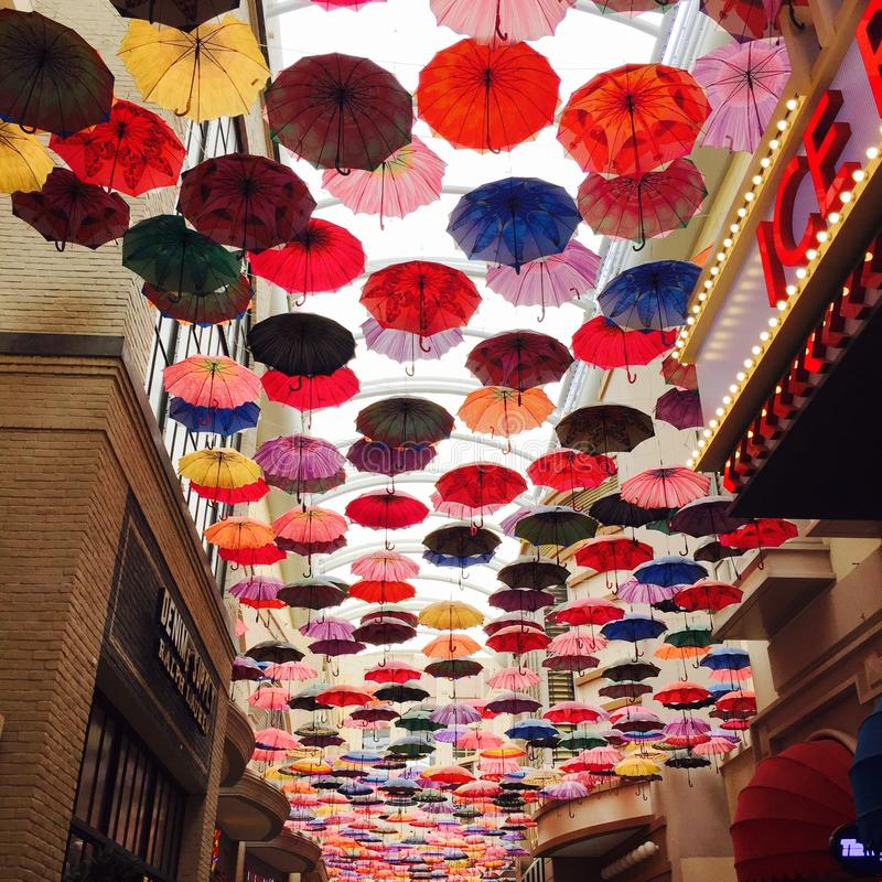 Umbrella Street Dubai royalty free stock photo