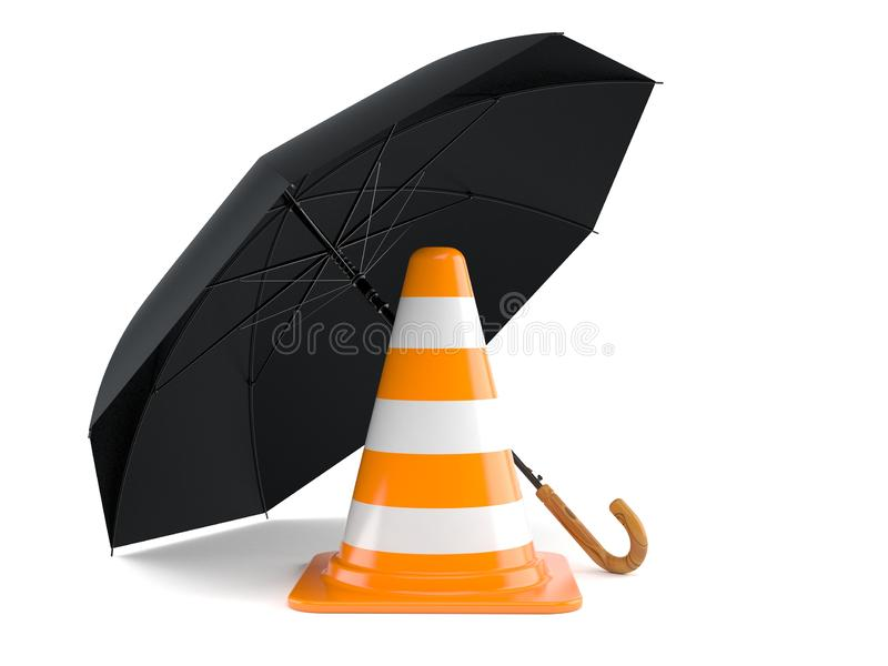 Umbrella with traffic cone stock illustration