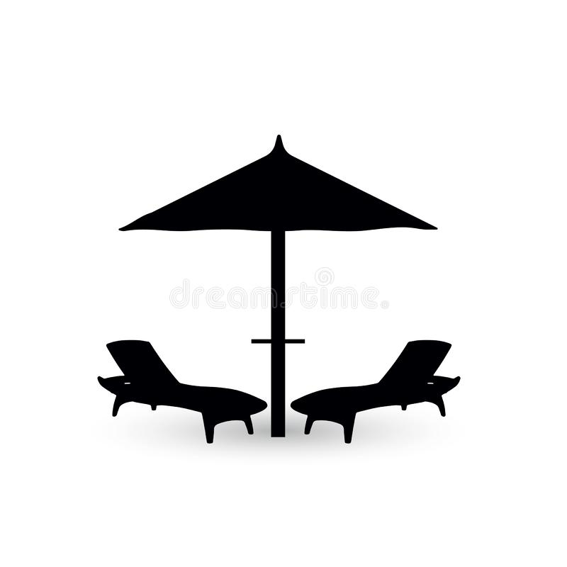 Umbrella and two chair for the beach stock image