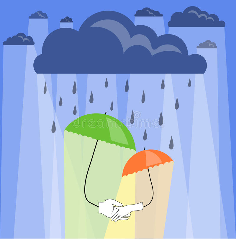 Umbrella. Two umbrellas hold on to the hands in the rain.Vector illustration stock illustration