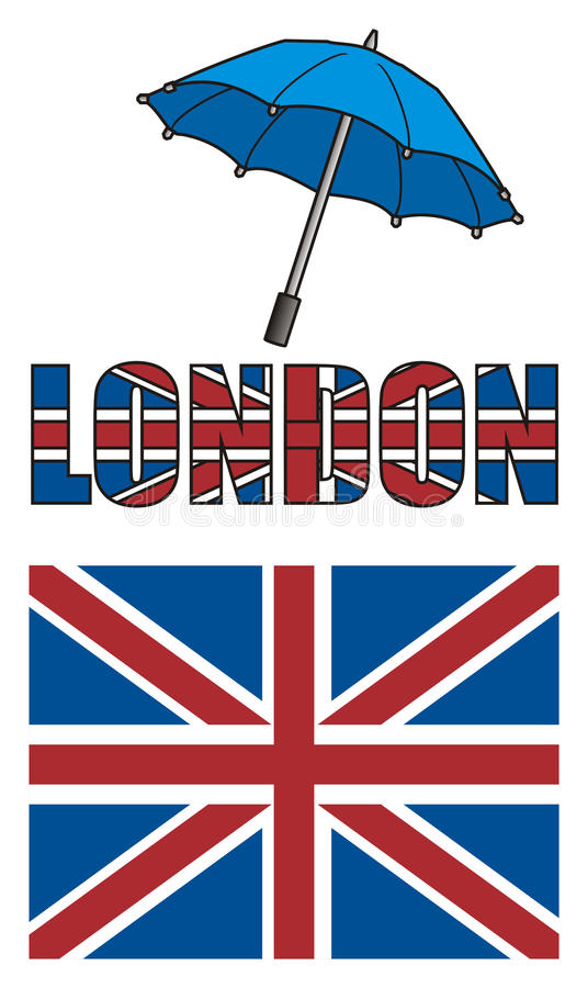 Umbrella with Uk flag and letters stock illustration