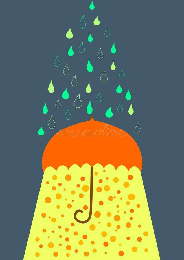 Umbrella under rain and sunlight greeting card royalty free stock photos