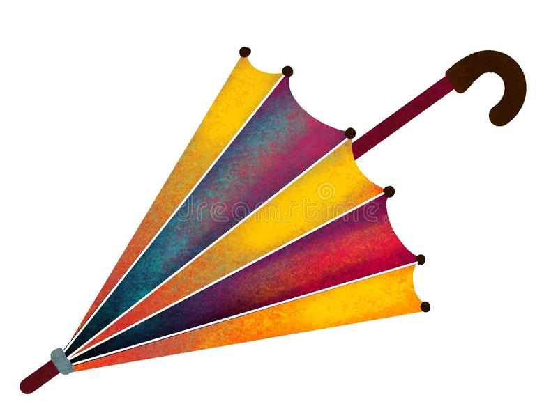 Rain umbrella. Painted, multicolored umbrella on on white background- Illustration vector illustration