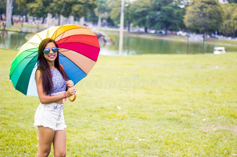 Umbrella, Yellow, Pink, Fun royalty free stock photography