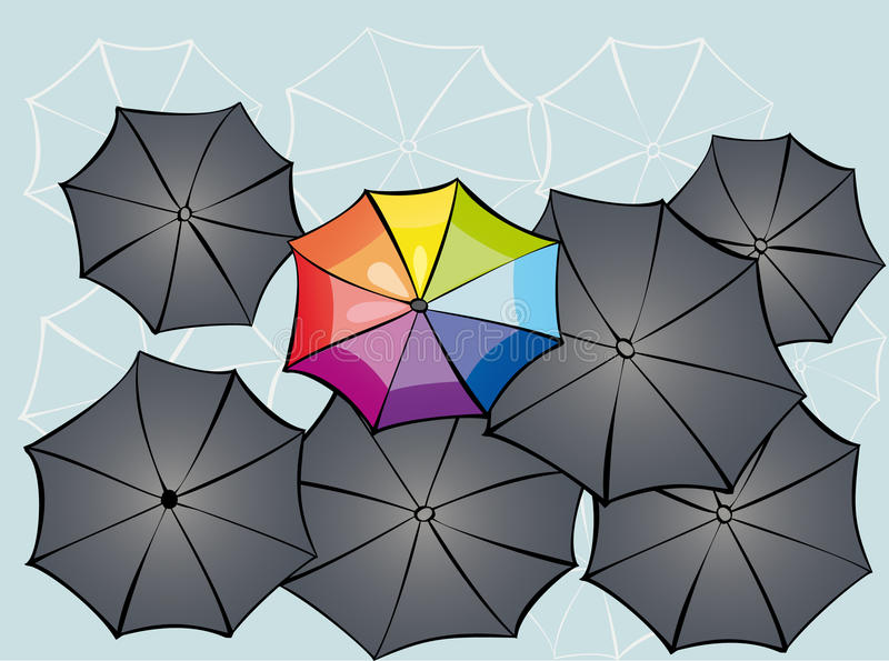 Umbrellas. Background with umbrellas and s[ace for text vector illustration