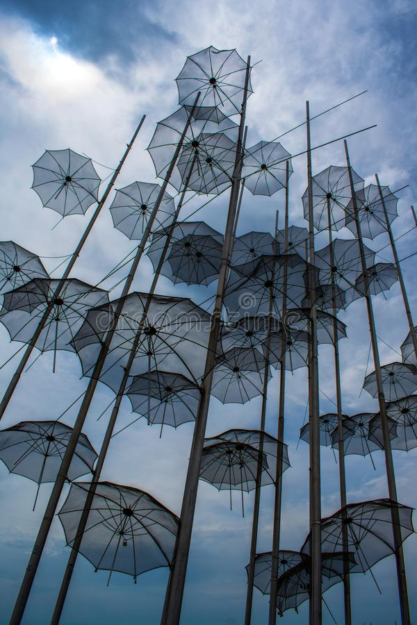 Umbrellas. Art monument Umbrellas by Zongolopoulos in Thessaloniki, Greece stock images