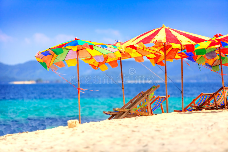 Umbrellas at the beach royalty free stock images