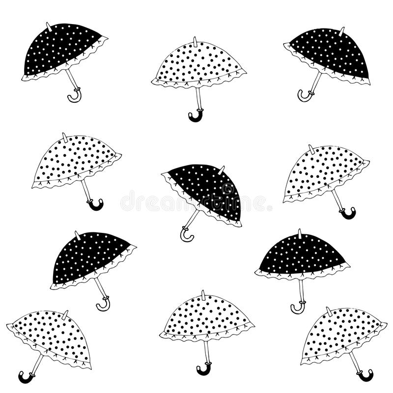 Umbrellas. Black and white little umbrellas royalty free illustration