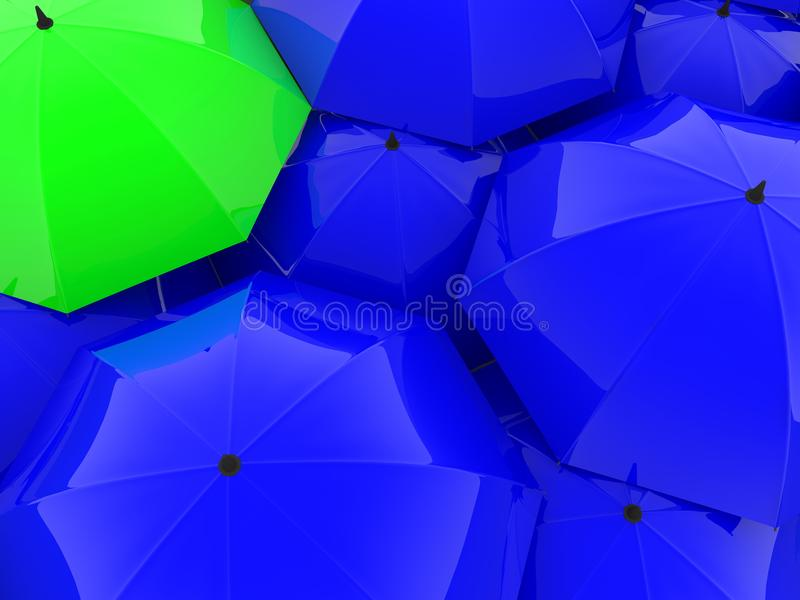 Umbrellas in blue and green color stock illustration