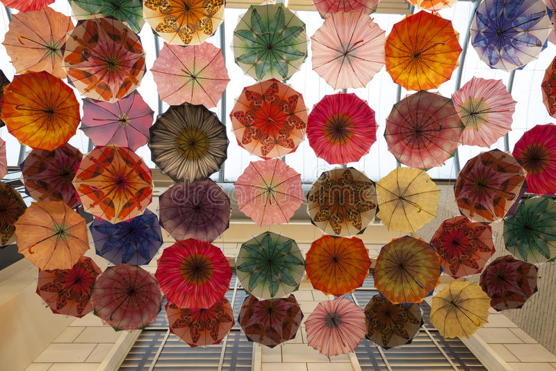 Umbrellas in Dubai Mall. Umbrella covered ceiling in the Dubai Mall, United Arab Emirates stock photo