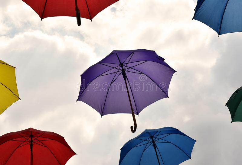Umbrellas Floating in the Sky royalty free stock image