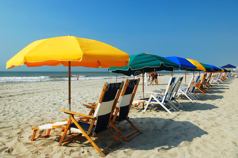 Umbrellas on the Grand Strand, Myrtle beach, SC. Myrtle Beach's Grand Strand awaits the summer crowd royalty free stock photography