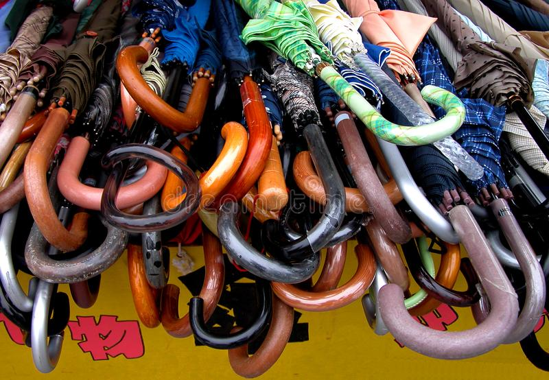 Umbrellas Handles Stock Photography