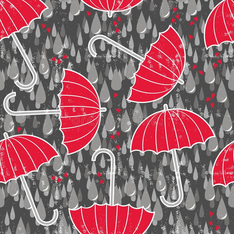 Umbrellas and hearts in a rain seamless pattern royalty free illustration