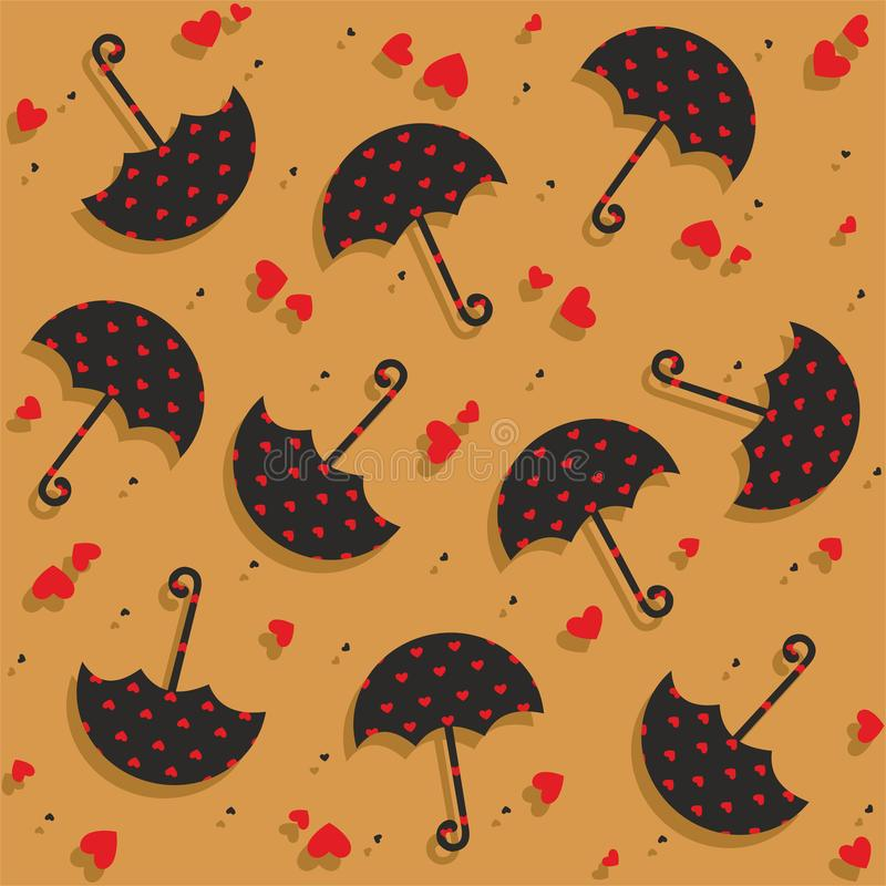 Umbrellas and hearts seamless pattern - vector. Valentine seamless pattern with umbrellas and hearts. Useful also as design element for gift wrapping. Eps file vector illustration