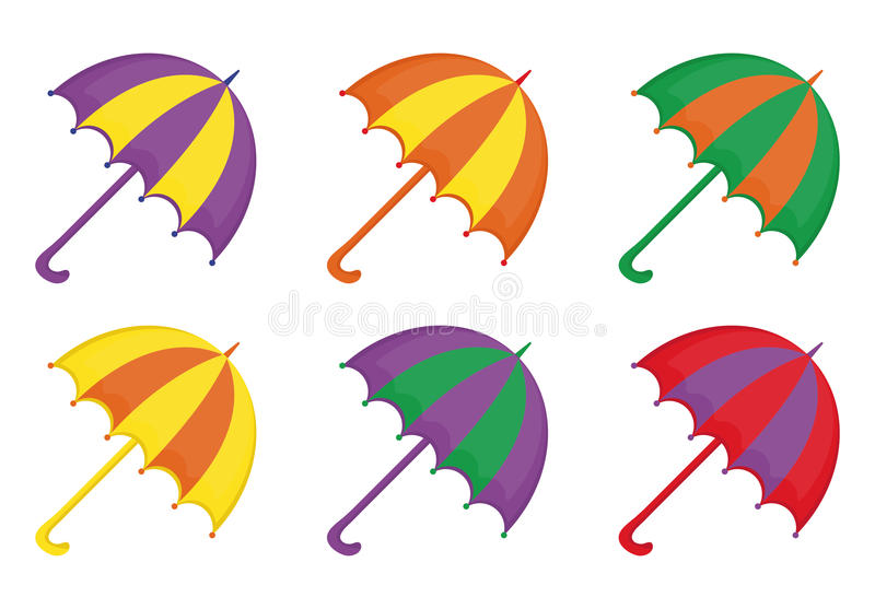 Umbrellas icon set, flat or cartoon style. Beach multicolored umbrella collection of design elements. Isolated on white. Background. Vector illustration royalty free illustration
