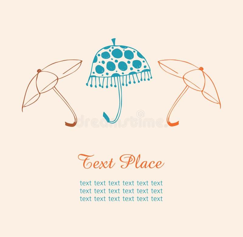 Umbrellas isolates set. Vintage banner with sketchy collection of umbrellas. Umbrellas isolates set. Vintage banner with collection of umbrellas stock illustration