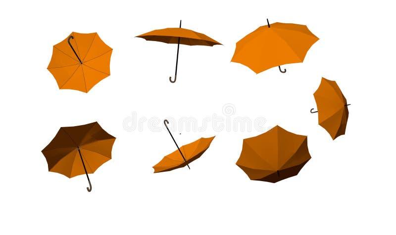 Umbrellas many yellow autumn isolated in white background. Umbrellas many yellow autumn isolated in white for background royalty free illustration