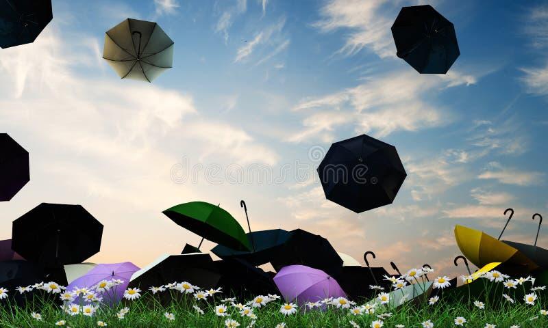 Umbrellas. Open umbrellas on green grass stock illustration