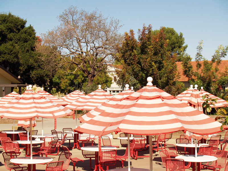 Download Umbrellas Over Empty Tables And Chairs Stock Photo - Image: 6055264