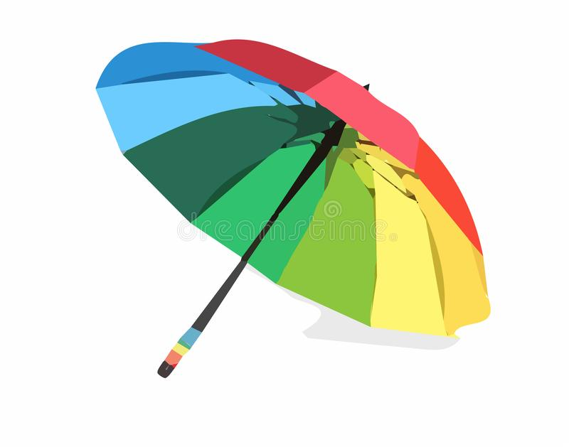 Colorful umbrella vector. Umbrellas and parasols are primarily hand-held portable devices sized for personal use. The largest hand-portable umbrellas are golf vector illustration