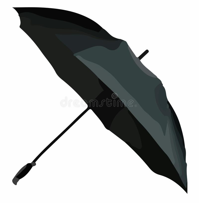 Black umbrella vector. Umbrellas and parasols are primarily hand-held portable devices sized for personal use. The largest hand-portable umbrellas are golf stock illustration