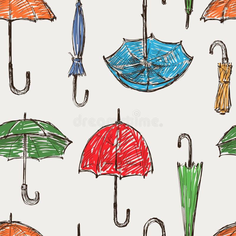 Umbrellas pattern. Vector pattern of the umbrellas sketches vector illustration