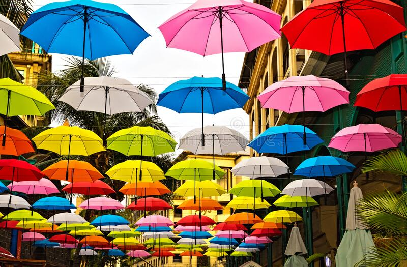 Umbrellas in the Port Louis, the capital of Mauritius royalty free stock image