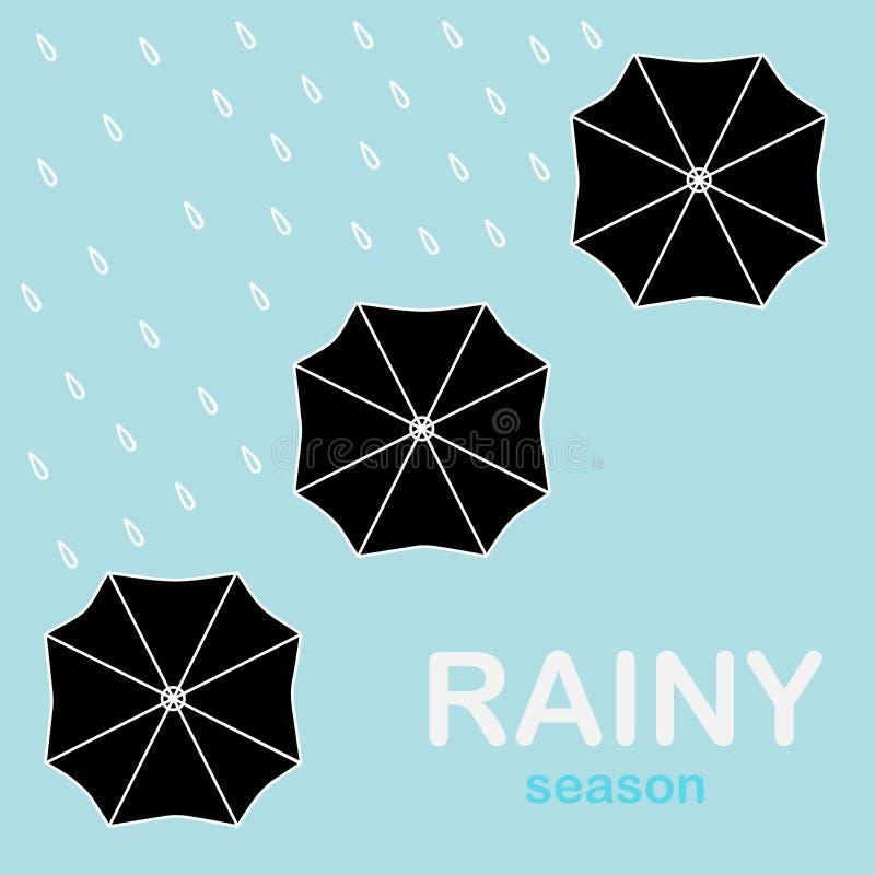 Umbrellas Put Up In The Rain. Black Umbrellas Put Up In The Rain royalty free illustration