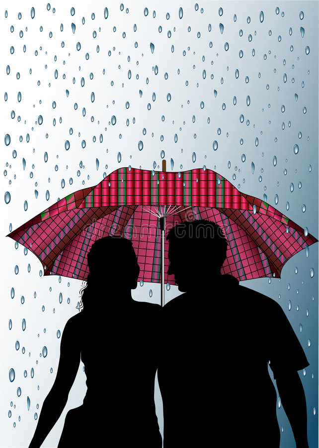 Umbrellas and rain vector illustration