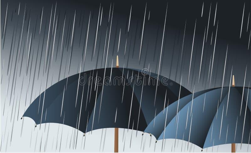 Umbrellas in the rain. Rain background with two umbrellas stock illustration