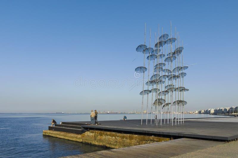 Umbrellas sculpture in Thessaloniki, Greece. THESSALONIKI, GREECE - SEPTEMBER 22, 2019: Umbrellas sculpture at embankment of city of Thessaloniki, Central stock photo