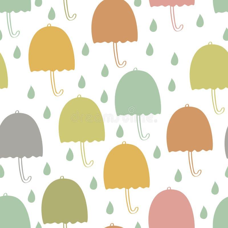 Umbrellas seamless background. Umbrellas and water drops seamless background vector illustration