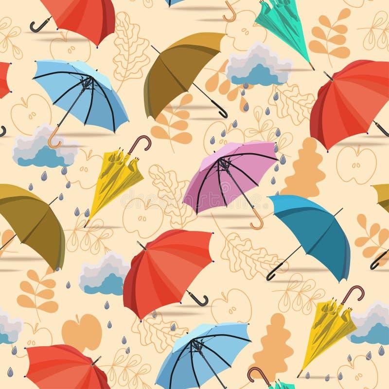 Umbrellas. Seamless pattern. Vector autumn doodles design. vector illustration