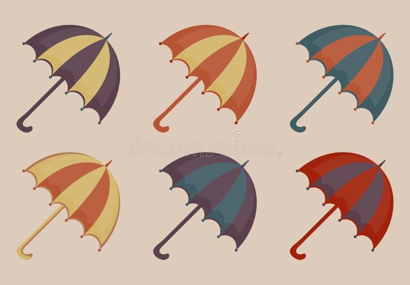 Umbrellas set of icons, vintage style. Beach multicolored umbrella retro collection of design elements. Vector. Illustration stock illustration