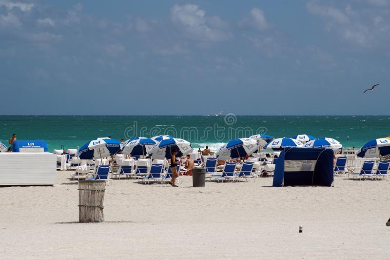 Umbrellas on South Beach in Miami royalty free stock photos