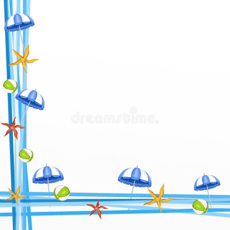 Umbrellas and starfish. Frame with umbrellas and starfish stock illustration