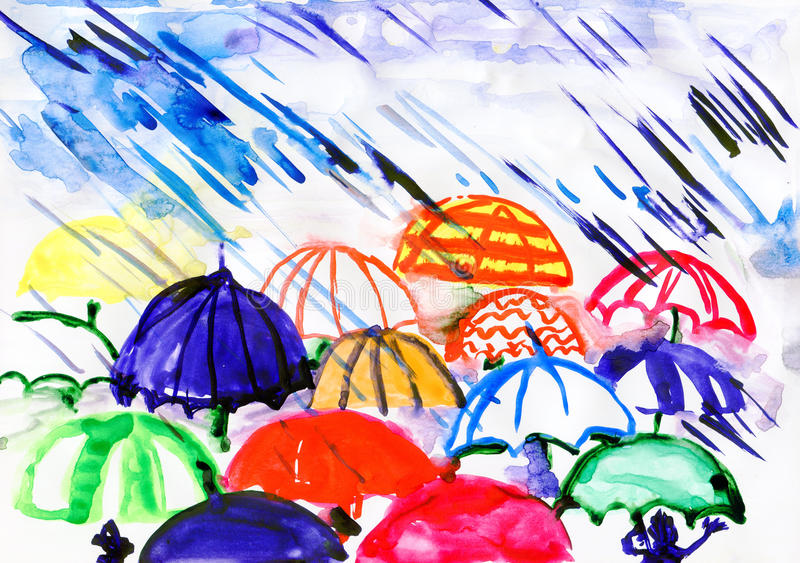 Umbrellas under rain. Drawn by watercolors on white paper stock illustration