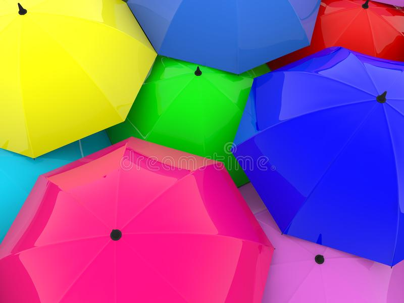 Umbrellas in various colors. In backgrounds vector illustration