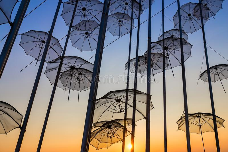 Umbrellas on the waterfront at Thessaloniki stock photos