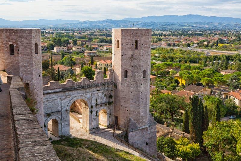 Umbrianstad van Spello, Italië stock fotografie