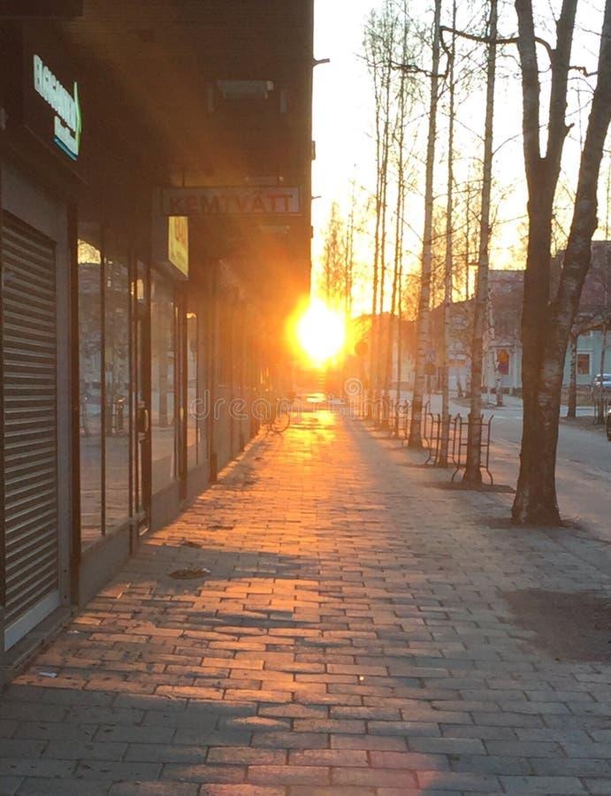 Umeå, backlight, cityscape stock foto