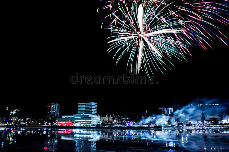 Umeå, Sweden with Firework. Downtown Umea, Sweden with Fireworks royalty free stock images
