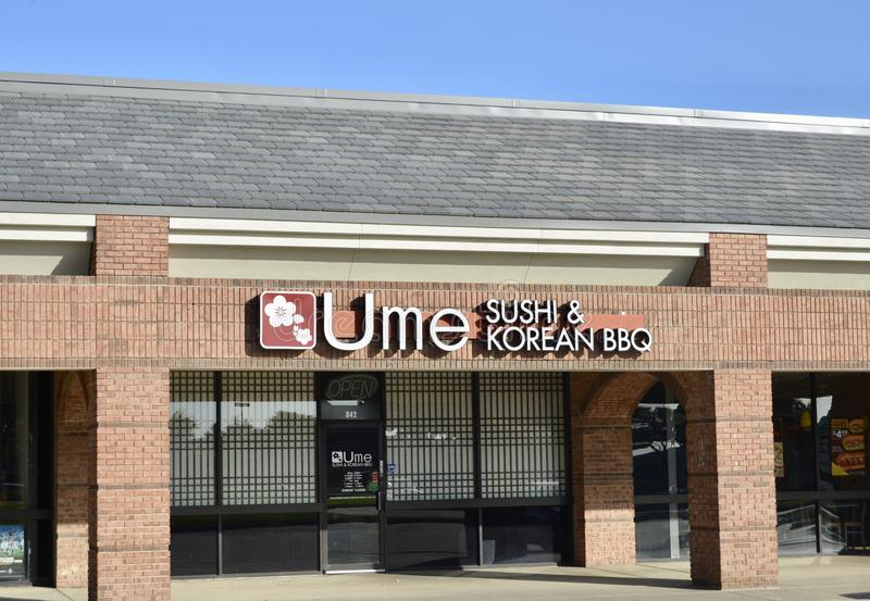 Ume Sushi and Korean BBQ Restaurant, Fort Worth, Texas. Ume Sushi and Korean BBQ Restaurant menu includes a variety of entrees with Chinese and Sichuan stock photography