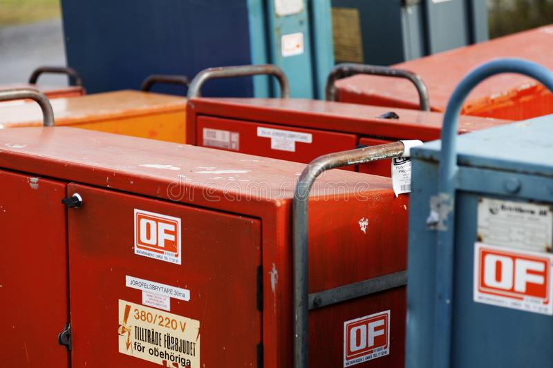 Lots of sheet metal boxes to supply high current and volts to exhibitors at the fair stock image