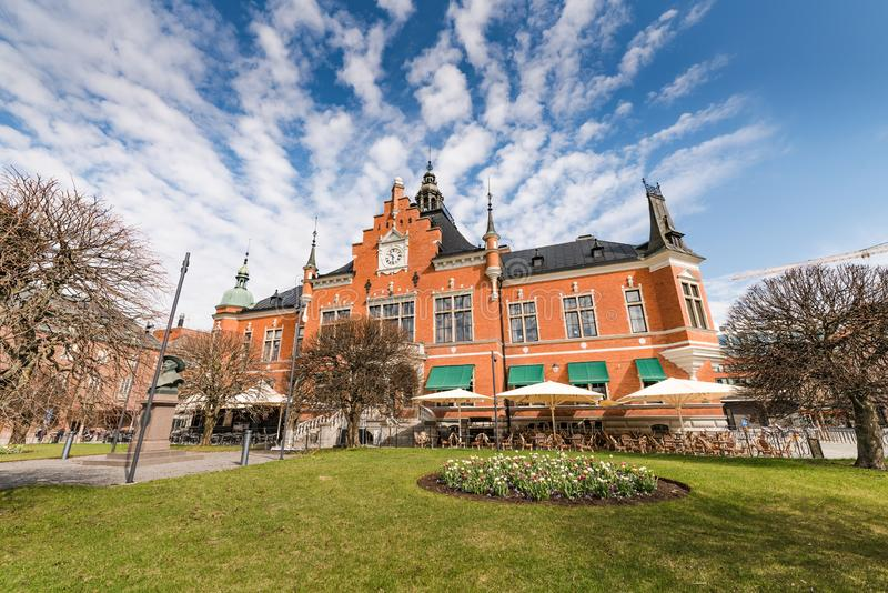 Umea, Sweden - May 10, 2019: Umeå Town Hall, the main facade facing south, the side view photo from the right side. The spring. Time, sunny day with blue royalty free stock photography